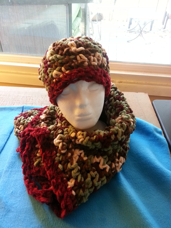 Stay warm this winter with a hand made hat and scarf set