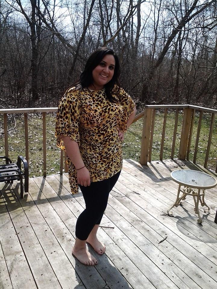 Pretty Melissa in a leopard butterfly tunic  $30 size L