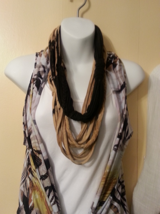 Stylish rope infinity scarves made from recycled t shirts!