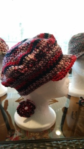 Crochet hat and matching earrings